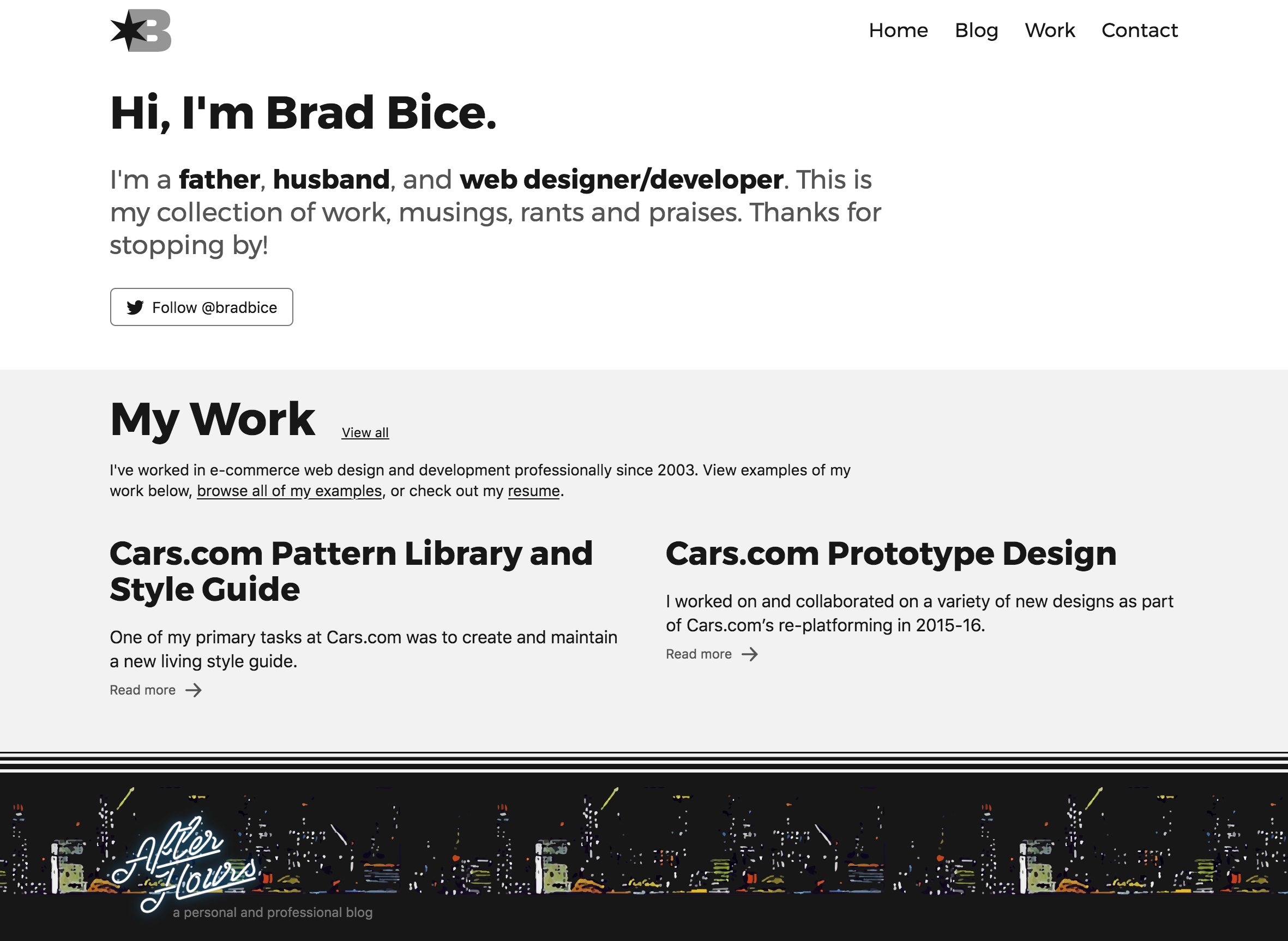 bradbice homepage in April 2018